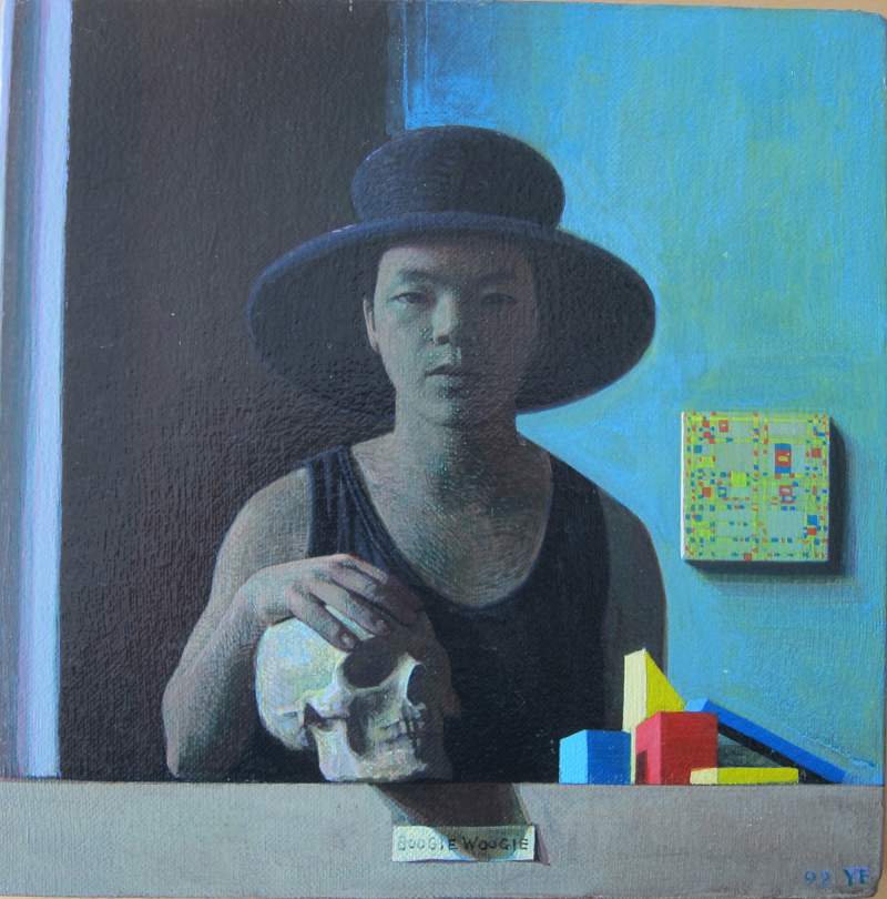 1992-3.自画像,Boogie Woogie,24x24cm,acrylic and oil on canvas_webuse